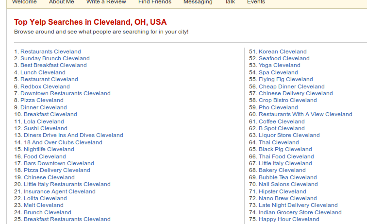 Top Searches for Cleveland, OH on Yelp