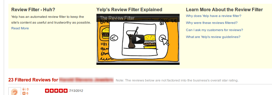 Filtered Reviews Page on Yelp