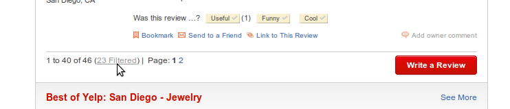 Showing Filtered Reviews on Yelp