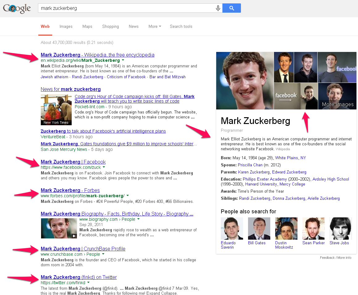 Social Media Profiles in the Google Search Results